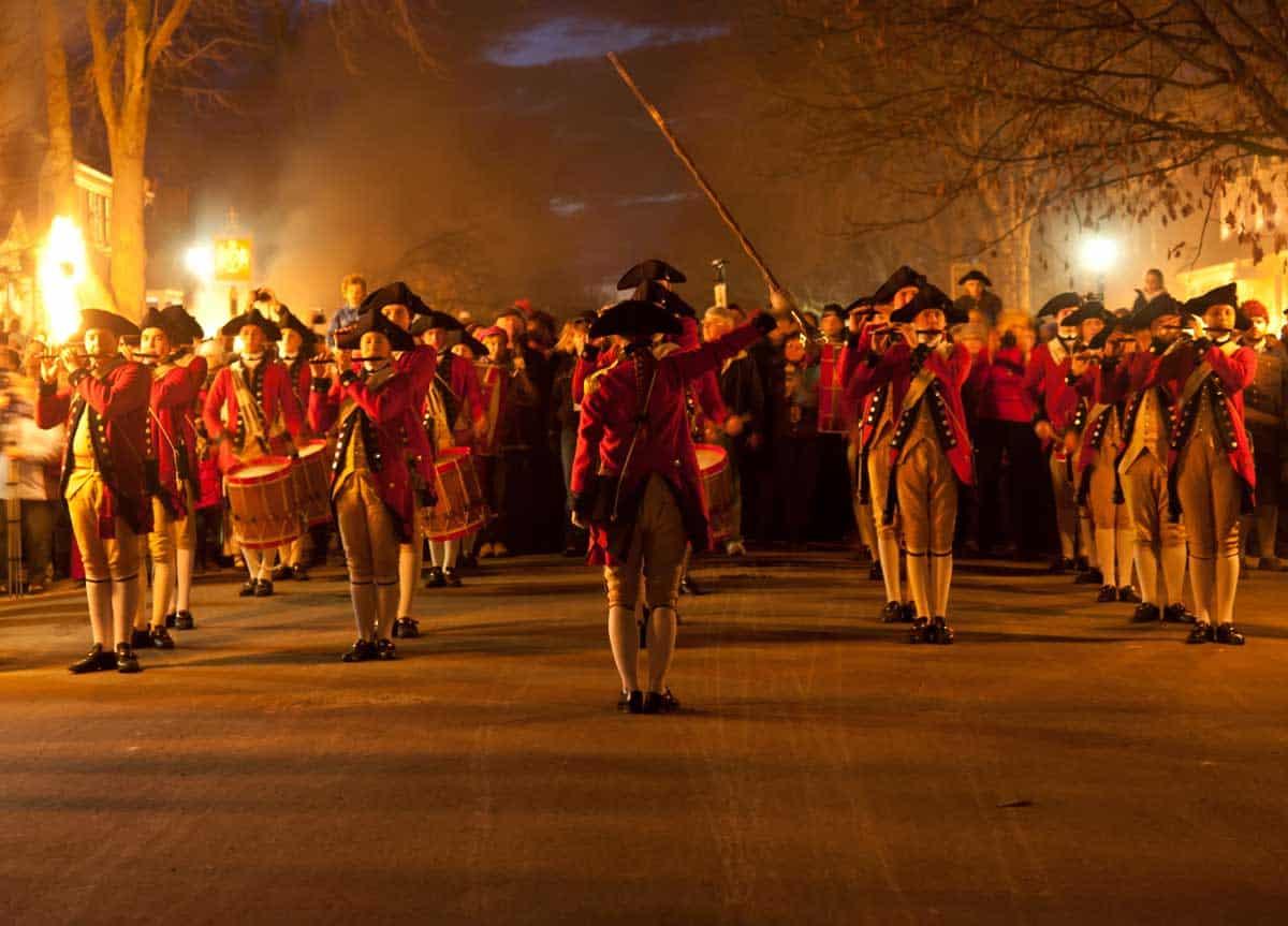 Civil war reenactment parade in Williamsburg.