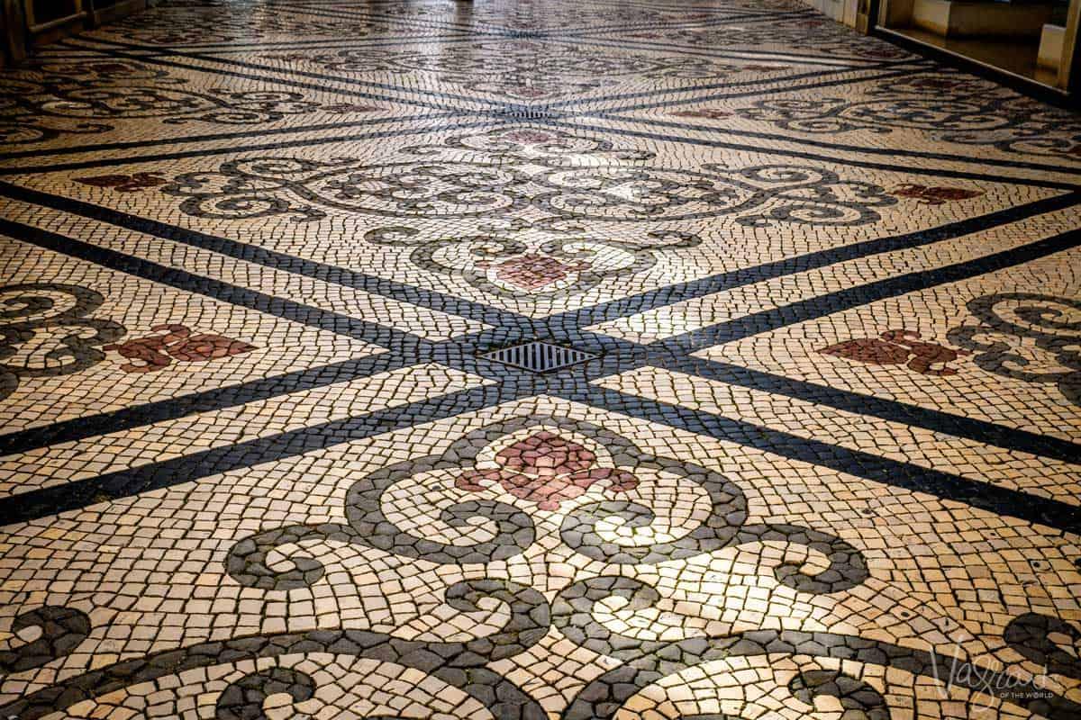 A Portuguese calçada mosaic footpath.