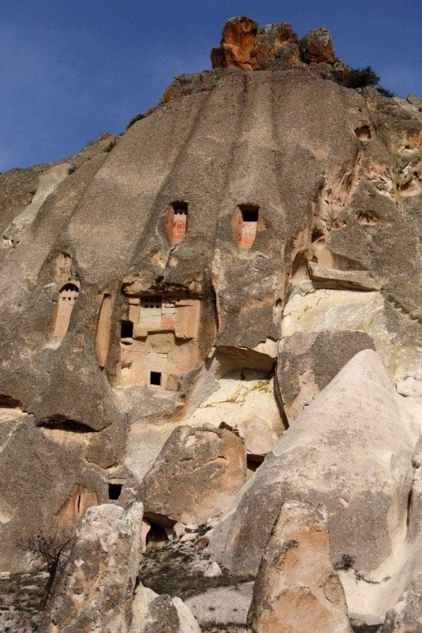Pigeon houses, Rose Valley Cappadocia. Turkey